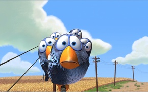 Wallpaper field, birds, bird, posts, wire, cartoon, Sparrow, birds, Pixar, sparrows, For the Birds, About the ...
