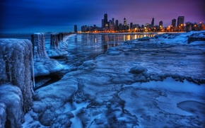 Picture winter, landscape, the city, view, ice