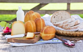 Wallpaper greens, table, basket, cheese, milk, bread, knife, napkin, appetizing, chunks, radishes