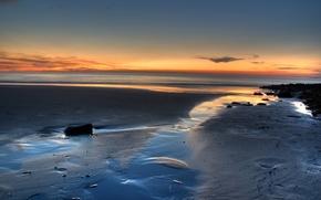 Wallpaper sea, sunrise, sand