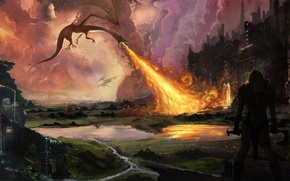 Picture the city, weapons, fire, dragons, warrior, art, attack, Hobbit