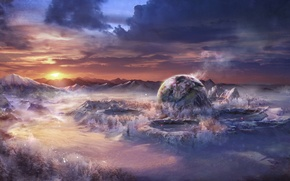 Picture snow, landscape, sunset, mountains, planet, ball, art, fantasy world, craters