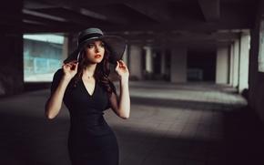 Picture girl, hat, beautiful, blackdress