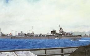 Picture ship, art, boat, Navy, military, cruiser, Japanese, cruiser, WW2, IJN, Yubari
