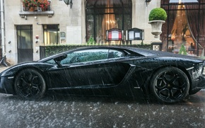 Picture water, rain, black, puddle, Lambo, supercar, drives, weather, lambo, aventador, Lamborghini Aventador