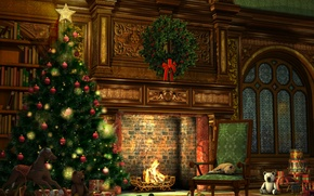 Picture room, style, interior, gifts, holiday, tree, toys, lights, garland, fireplace, Christmas, balls, decoration, Christmas, Christmas, ...