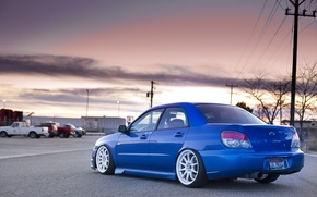 Picture road, machine, blue, plant, Subaru, wrx, impreza, sti