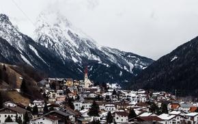Picture winter, snow, mountains, Austria, village, Church, Valley, power lines, Tyrol, Arlberg