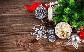 Picture New Year, Merry, decoration, Christmas, tree, Christmas, wood, balls, decoration