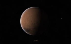 Picture stars, planet, Mars, satellites, Deimos, Phobos