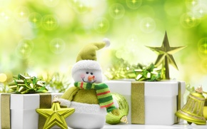 Picture stars, balls, toys, New Year, green, Christmas, gifts, snowman, Christmas, New Year, Christmas