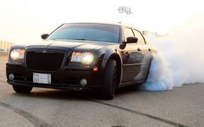 Picture machine, auto, smoke, Chrysler, black, drift, Chrysler 300