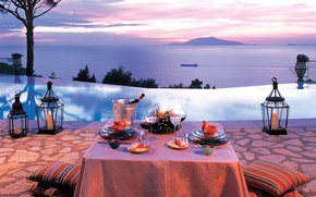 Picture sea, romance, the evening, candles, pool, dinner
