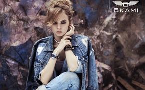 Picture look, girl, style, sweetheart, model, watch, jeans, earrings, hairstyle, beauty, image, bracelet, beautiful, denim jacket, …