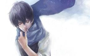 Picture snow, scarf, cigarette, male, smokes, Gintama, Hijikata Toushirou, Gintama