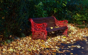 Picture bench, Park, foliage, Autumn, falling leaves, park, autumn, leaves, fall