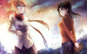 Wallpaper fate/stay night, art, ragecndy, rin tohsaka, smile, anime, saber, the sky, girls, clouds, sunset