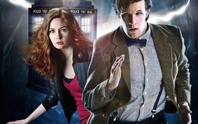 Picture look, girl, fiction, skirt, Mike, actress, actor, male, shirt, red hair, runs, Doctor Who, crack, …