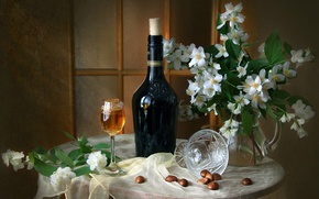 Picture wine, glass, bottle, bouquet, texture, still life, Jasmine, chestnuts