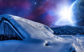 Picture the sky, snow, mountains, night, star, planet, House