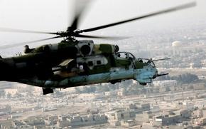 Picture war, technique, USSR, flight, helicopter, mi-24, Russia