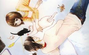 Picture cat, smile, kitty, toys, jeans, pillow, art, tachibana mei, kurosawa yamato, Kane hazuki, say I …