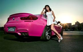 Picture machine, auto, girl, model, Asian, car, BMW M6, korean model