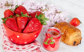 Picture flowers, berries, food, chocolate, Breakfast, strawberry, plate, red, cakes, bun, croissant, jar