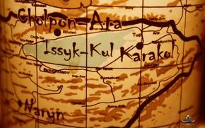 Picture lake, map, Sun, lake, Map, history, Asia, stylish, adventure, KGZ, Kyrgyz, Tengir-Too land, ( kyrgyzstan …