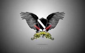 Wallpaper coat of arms, wings, empty