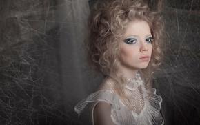 Picture girl, web, moth, silkworm