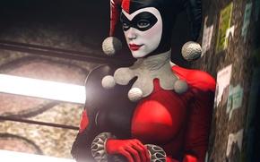 Picture girl, mask, costume, villain, Batman, classic, harley quinn