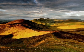 Picture the sky, hills, sheep, England, Britain