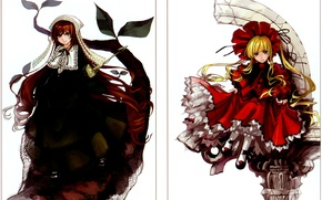 Picture white background, cap, rozen maiden, ruffles, different eyes, shinku, Kapor, suiseiseki