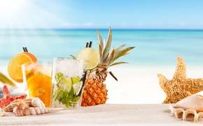 Wallpaper sea, beach, cocktail, summer, fruit, beach, fresh, sea, fruit, paradise, drink, cocktail, tropical