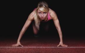 Wallpaper woman, muscular, pose starting position, athlete