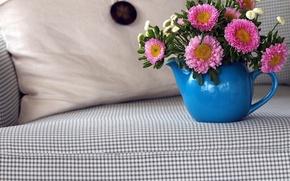 Picture flowers, sofa, bouquet
