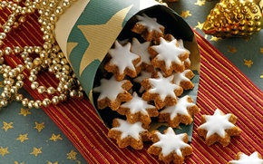 Picture toys, New Year, cookies, Christmas, sweets, beads, dessert, cakes, holidays, glaze, Christmas, Christmas
