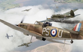 Picture war, art, airplane, painting, aviation, ww2, Boulton Paul Defiant Mk.I