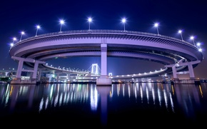 Wallpaper night, bridge, lights, reflection, Japan, backlight, Tokyo, lights, Bay, capital