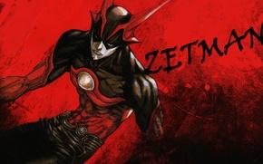 Picture look, mask, costume, horns, helmet, red background, super man, evil eye, Zetman, muscles