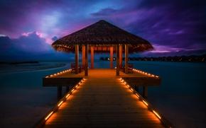 Wallpaper Bungalow, the ocean, pierce, Anantara Resort, Maldives, sunset