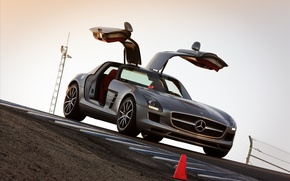 Picture door, mercedes sls, Mercedes, auto, road, machine