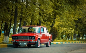 Picture road, trees, USSR, red, classic, Lada, vaz, VAZ, lada, Lada, 2103