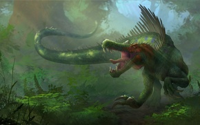 Picture fiction, planet, dinosaur, art, lizard, worlds