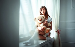 Wallpaper girl, toy, bear