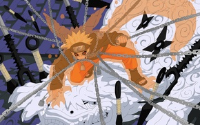 Picture chain, naruto, manga, Uzumaki Naruto, Jinchuriki, kunai, cover the nine-tails