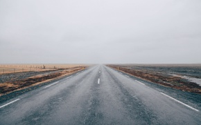 Picture road, field, cloudy
