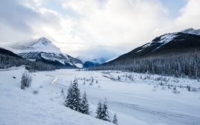 Picture road, river, winter, mountain, snow, frozen