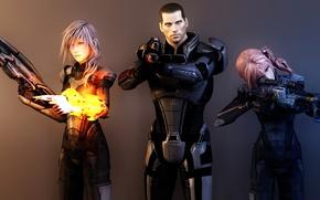 Picture weapons, art, final fantasy, Shepard, render, collage, captain, shepard, armor, mass effect, lightning, girls